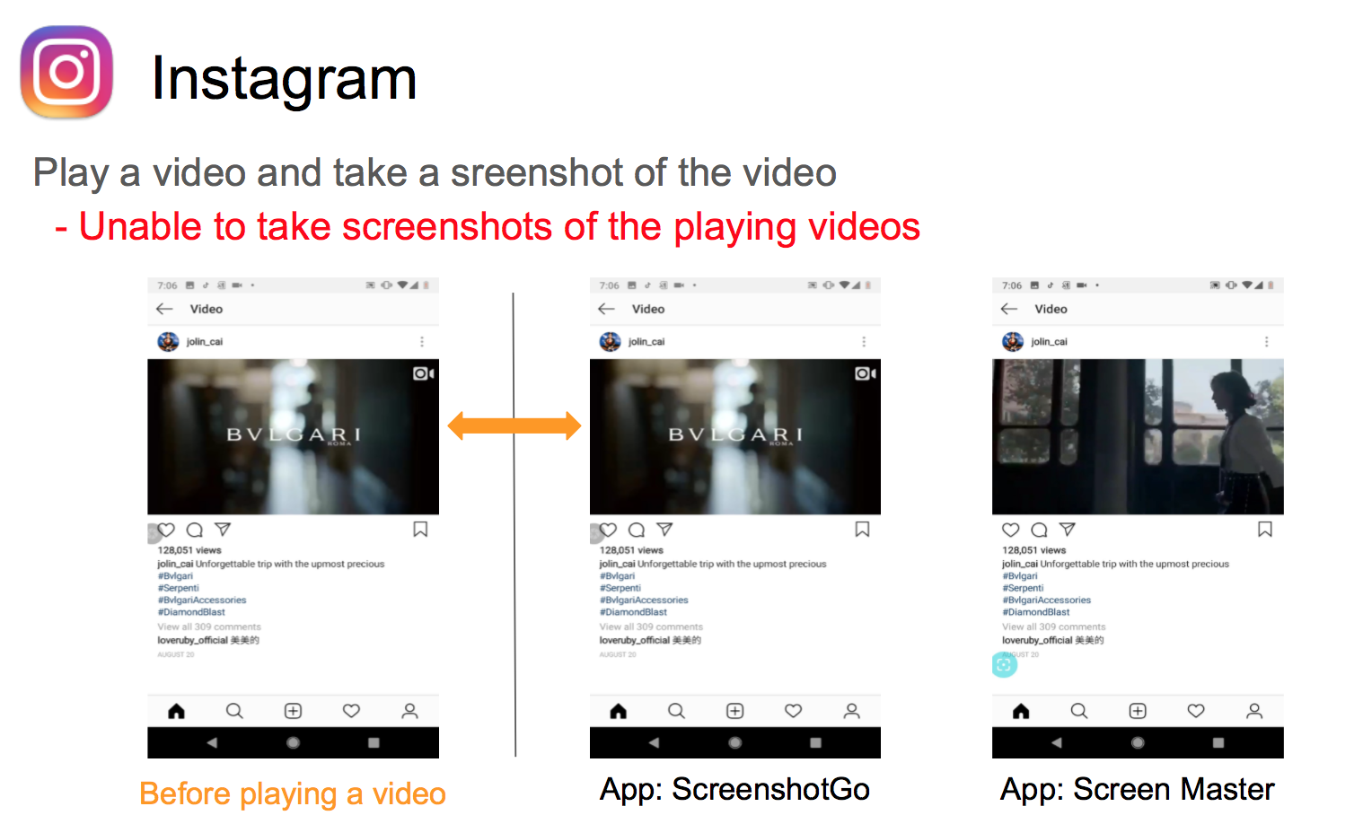 Unable to take a screenshot of the playing video (App: SHAREit