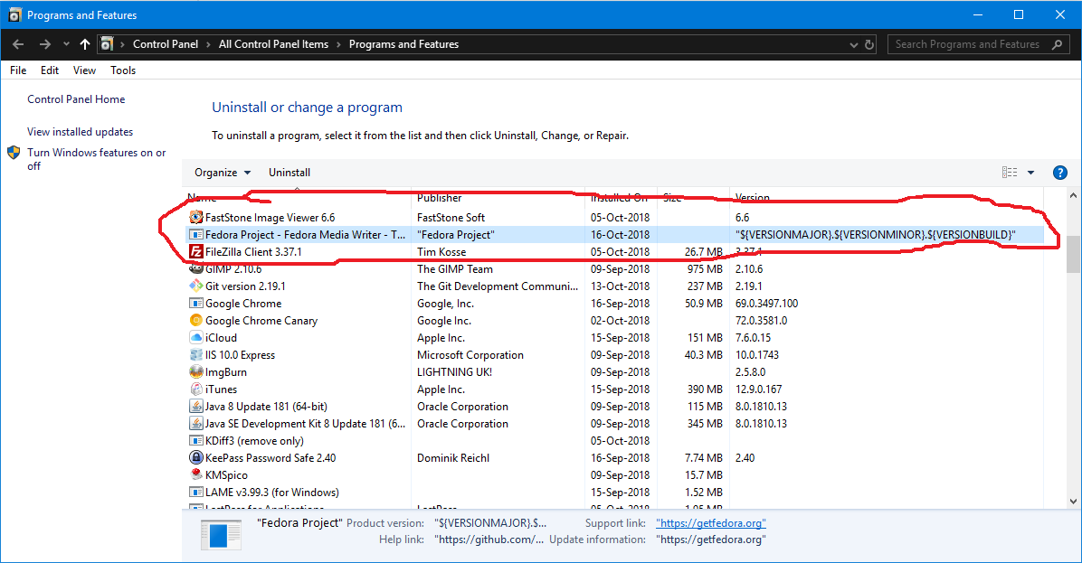 Unpopulated information in Windows Programs uninstaller