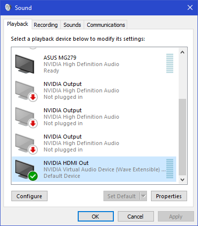 Every time I use Moonlight, PC audio playback is stuck with Nvidia