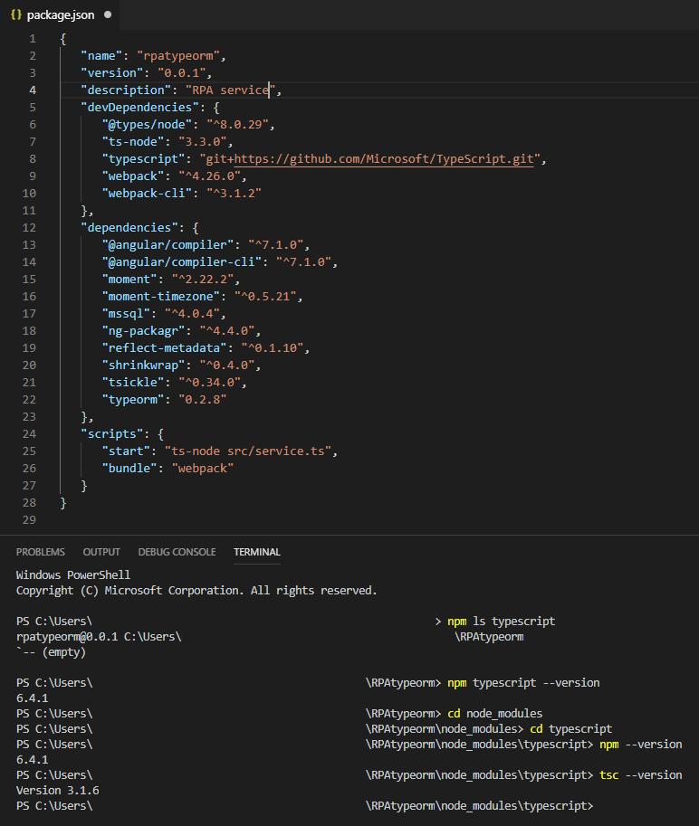 Npm install typescript 3 1 6 | typescript  2019-03-12