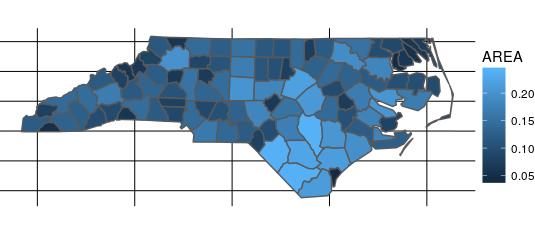 North Carolina with graticule