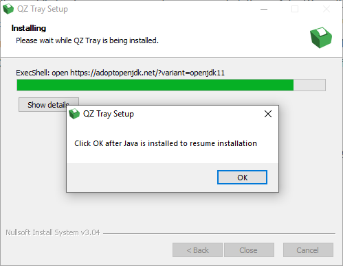 Windows installer cannot resume after installing Java