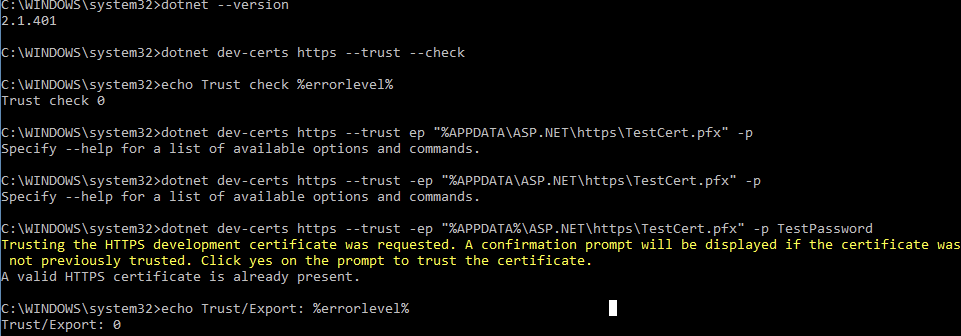Adding the certificate to the Trusted Root Certificate store
