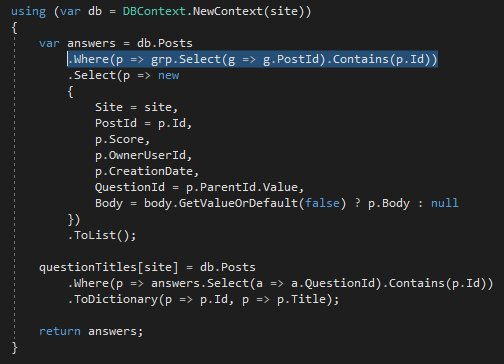 Client evaluation in query with Contains on an IEnumerable