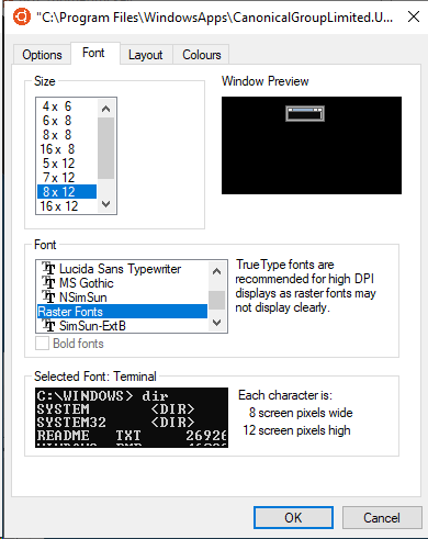 Font in WSL Console window changes to Raster Fonts when