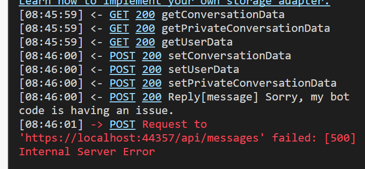 http://localhost:3979/api/messages' failed: [500] Internal