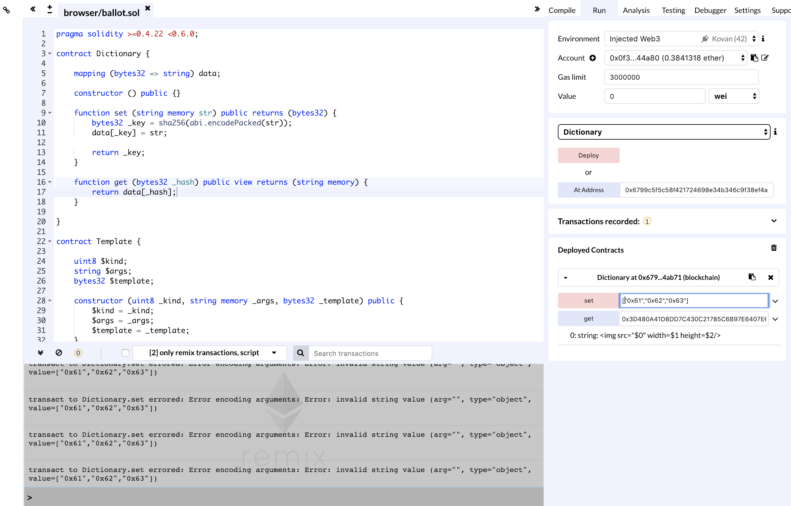 Remix tries to encode Strings a JSON  · Issue #1664 · ethereum/remix