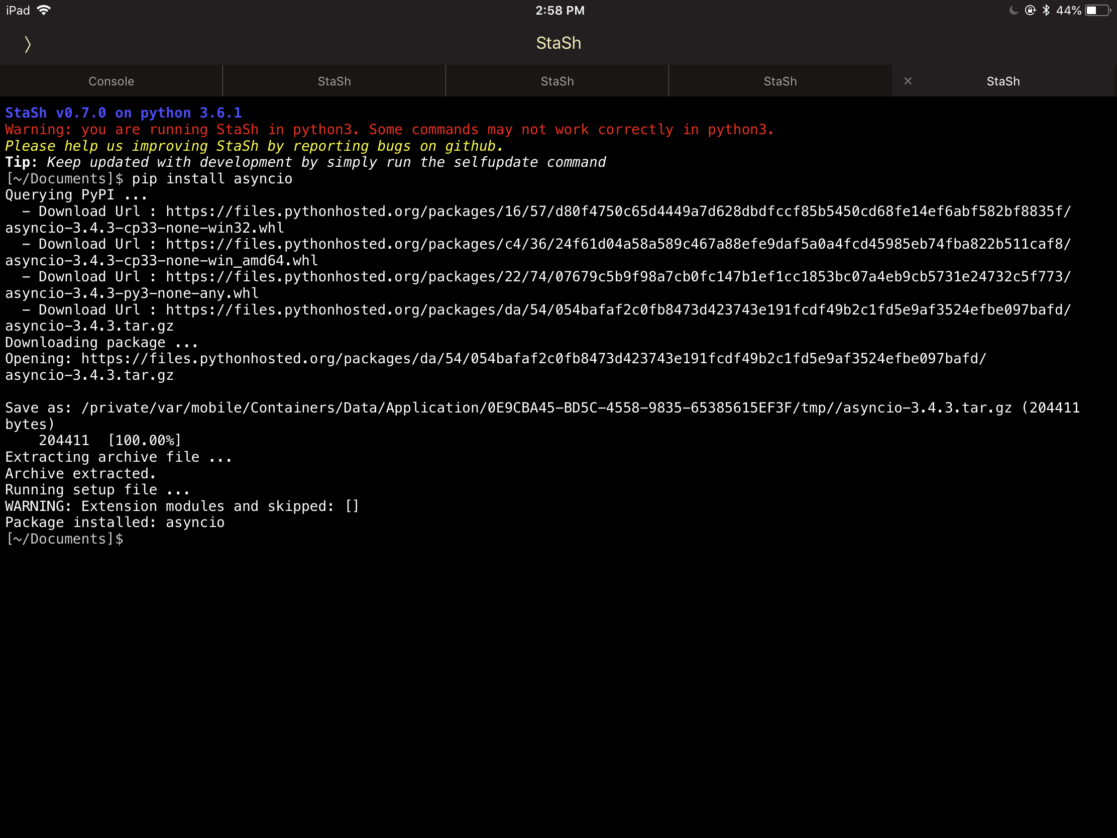 pip install python-ev3` with StaSh v0 7 0 doesn't seems to be