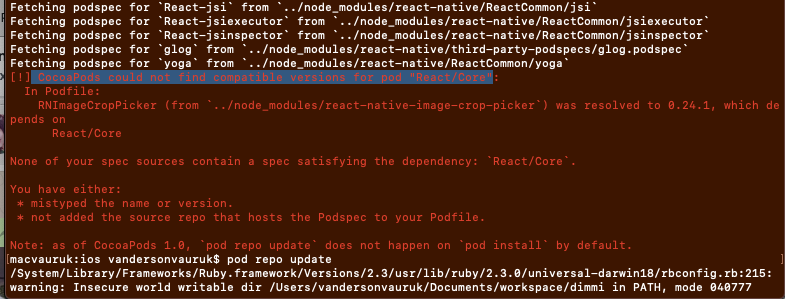 CocoaPods could not find compatible versions for pod