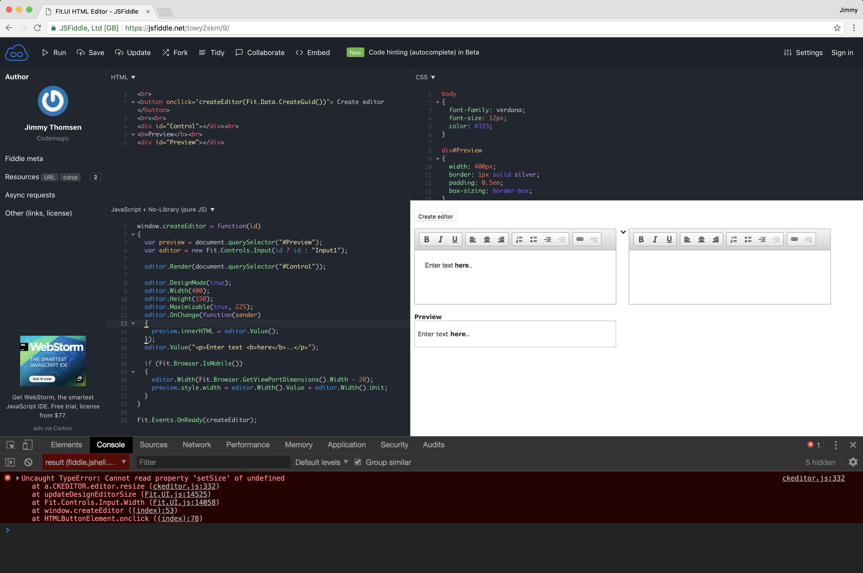 Input in DesignMode (CKEditor): Uncaught TypeError: Cannot read