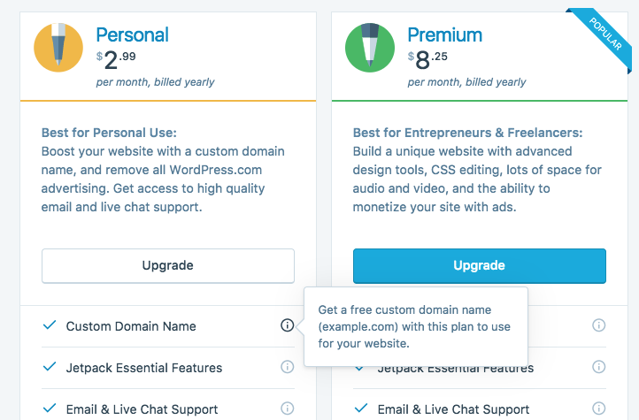 Domains: Clarify domains credit doesn't apply to Premium