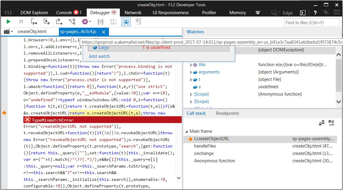 URL createObjectURL() function doesn't work in IE 11 · Issue