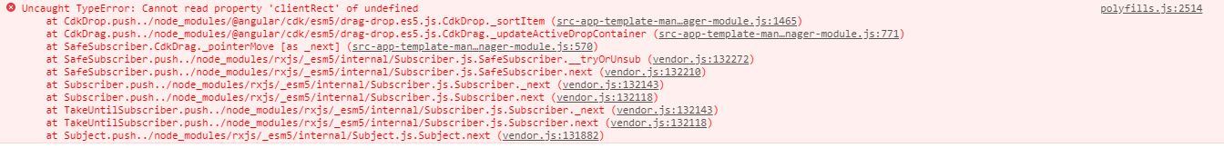 bug:(@angular/cdk/drag-drop): Cannot read property 'clientRect' of