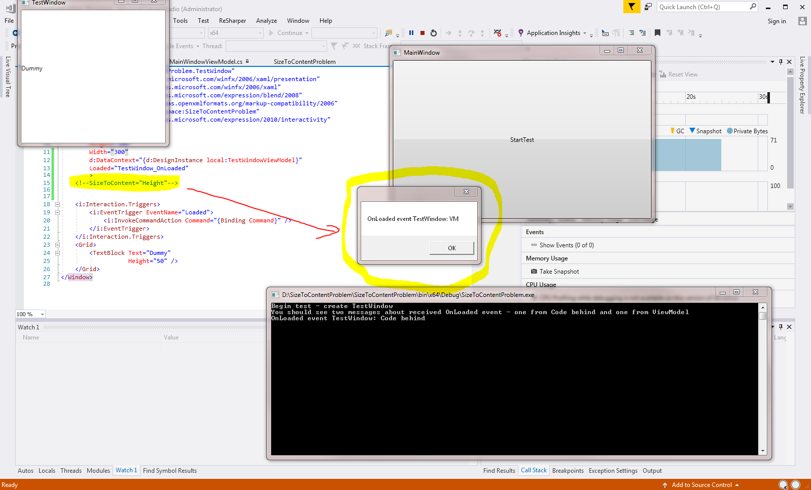 Existence of SizeToContent in XAML breaks Loaded Event of window