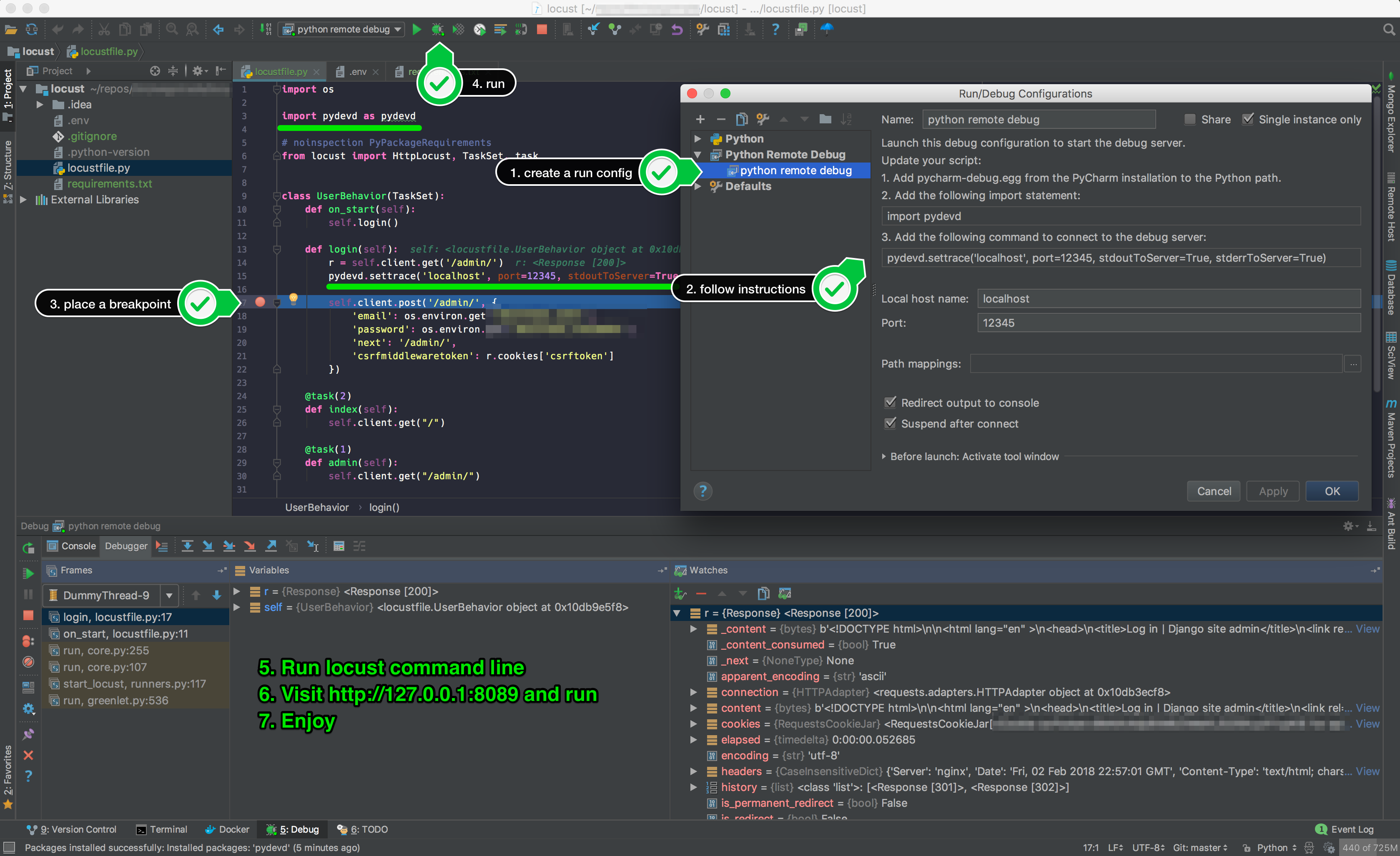 Question: debugging in pycharm (or other arbitrary IDE