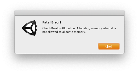 CheckDisalowAllocation error on plugin installation in unity