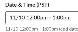 Slack date input calendar