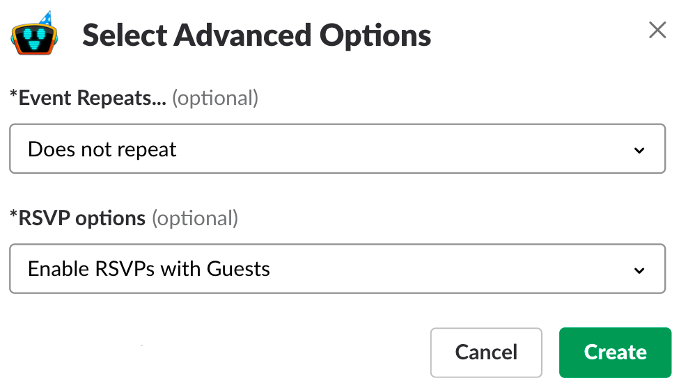 Slack calendar advanced options