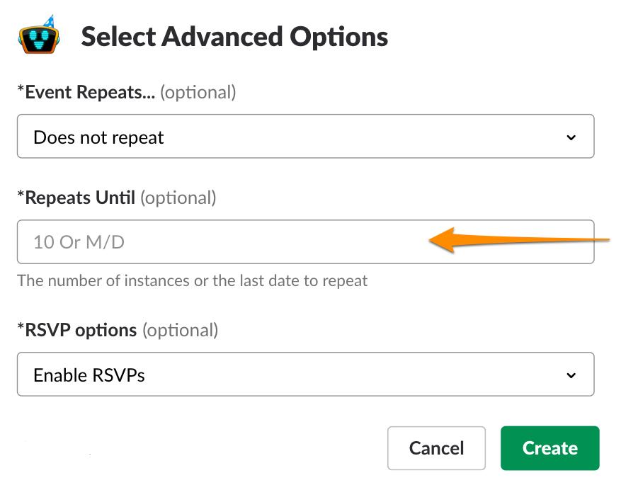 Slack advanced options calendar