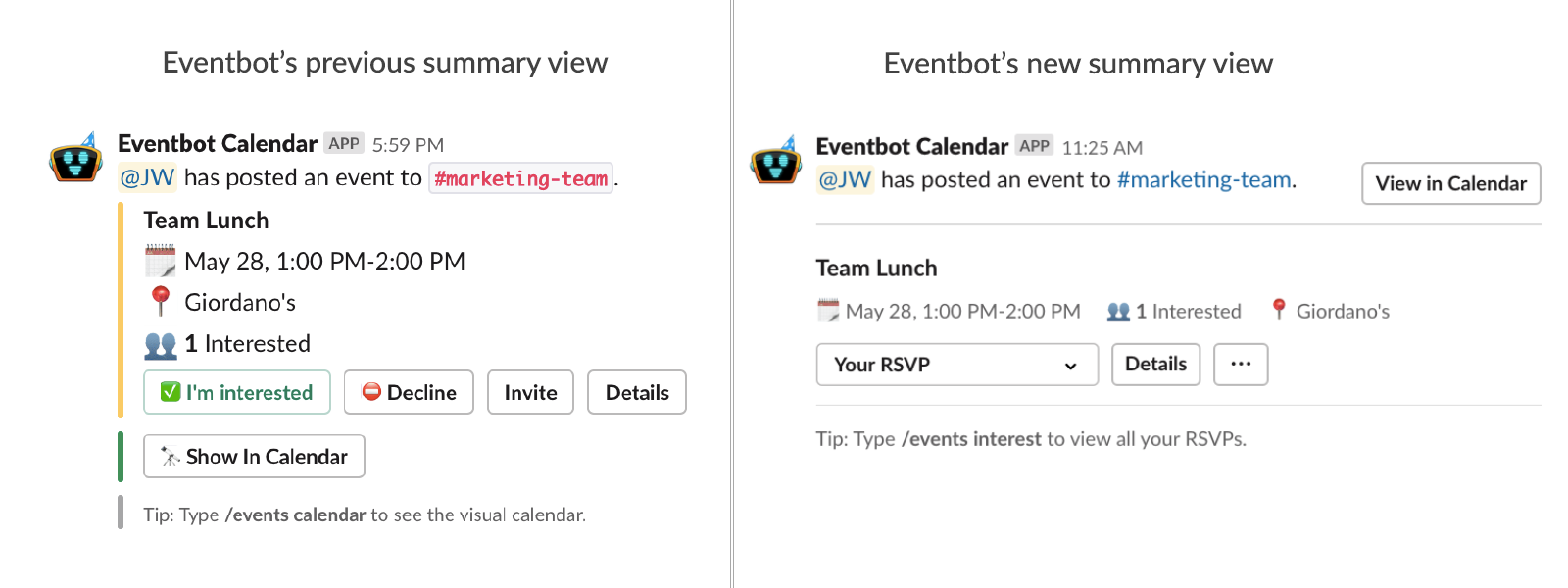 summary view calendar slack