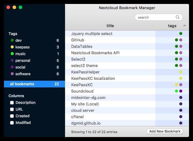 nextcloud-bookmark-manager