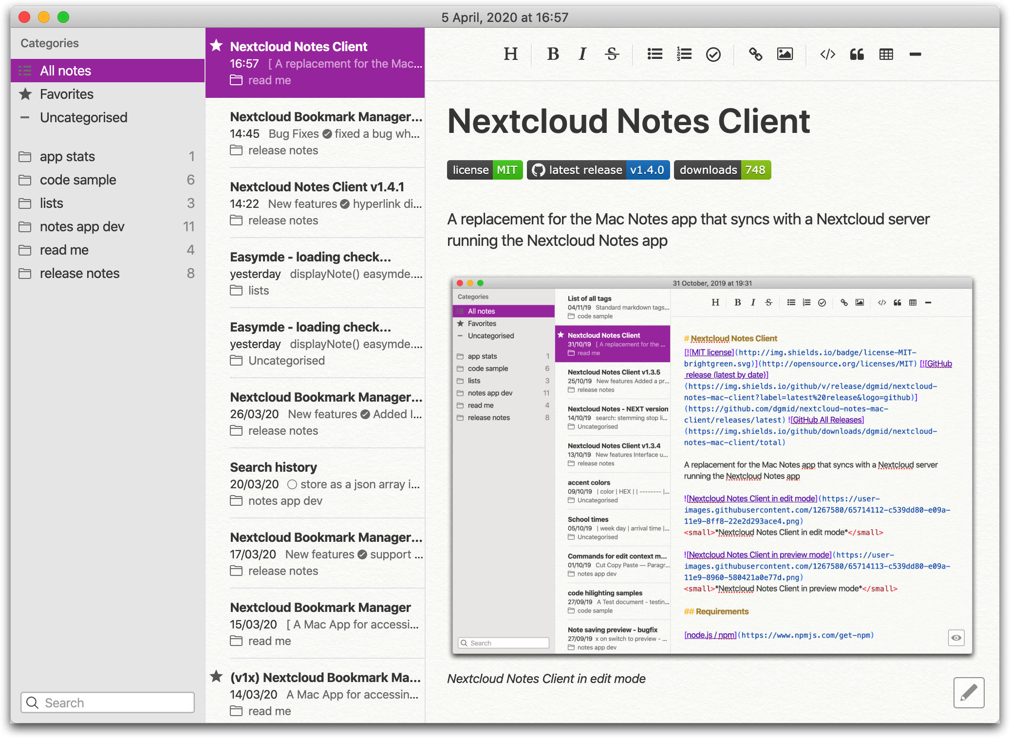 Nextcloud Notes Client in preview mode