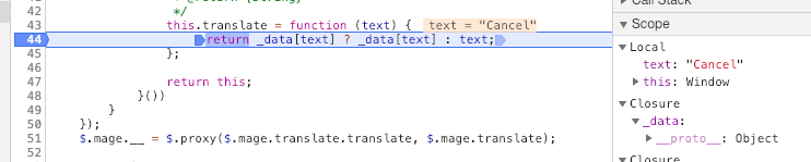 Javascript translation issue on modal buttons when removing items