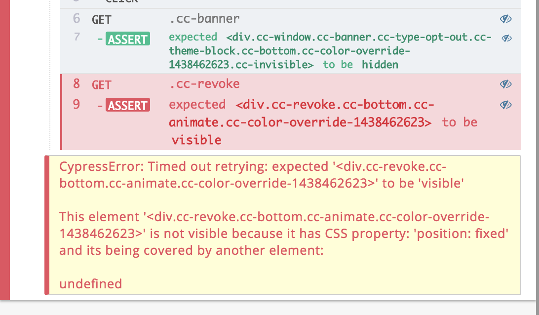 When 'is visible' failure, error shows 'is being covered by