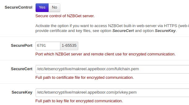 FYI / HOWTO: nzbget and letsencrypt · Issue #545 · nzbget