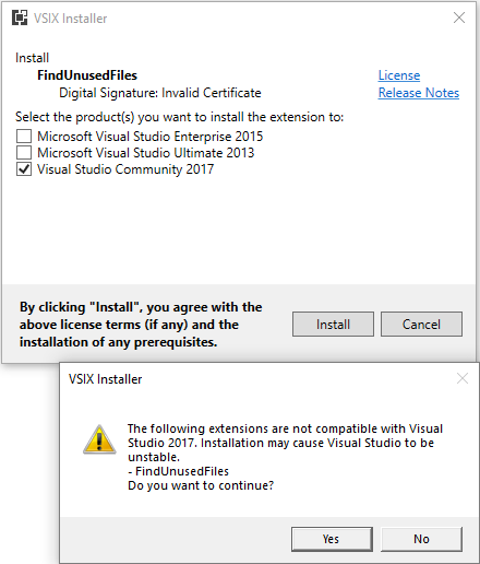 Visual Studio 2017 does not support the extension · Issue