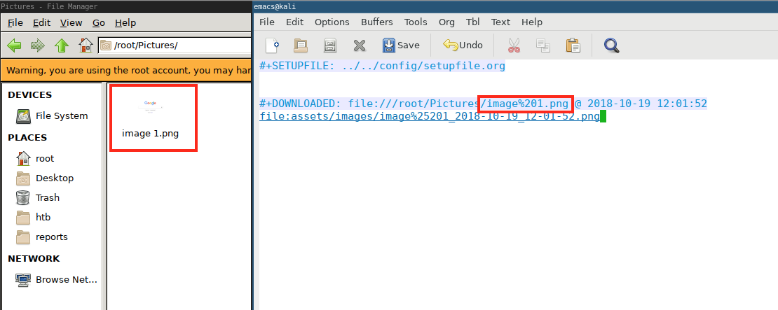 Images with spaces in filename result in filepath with