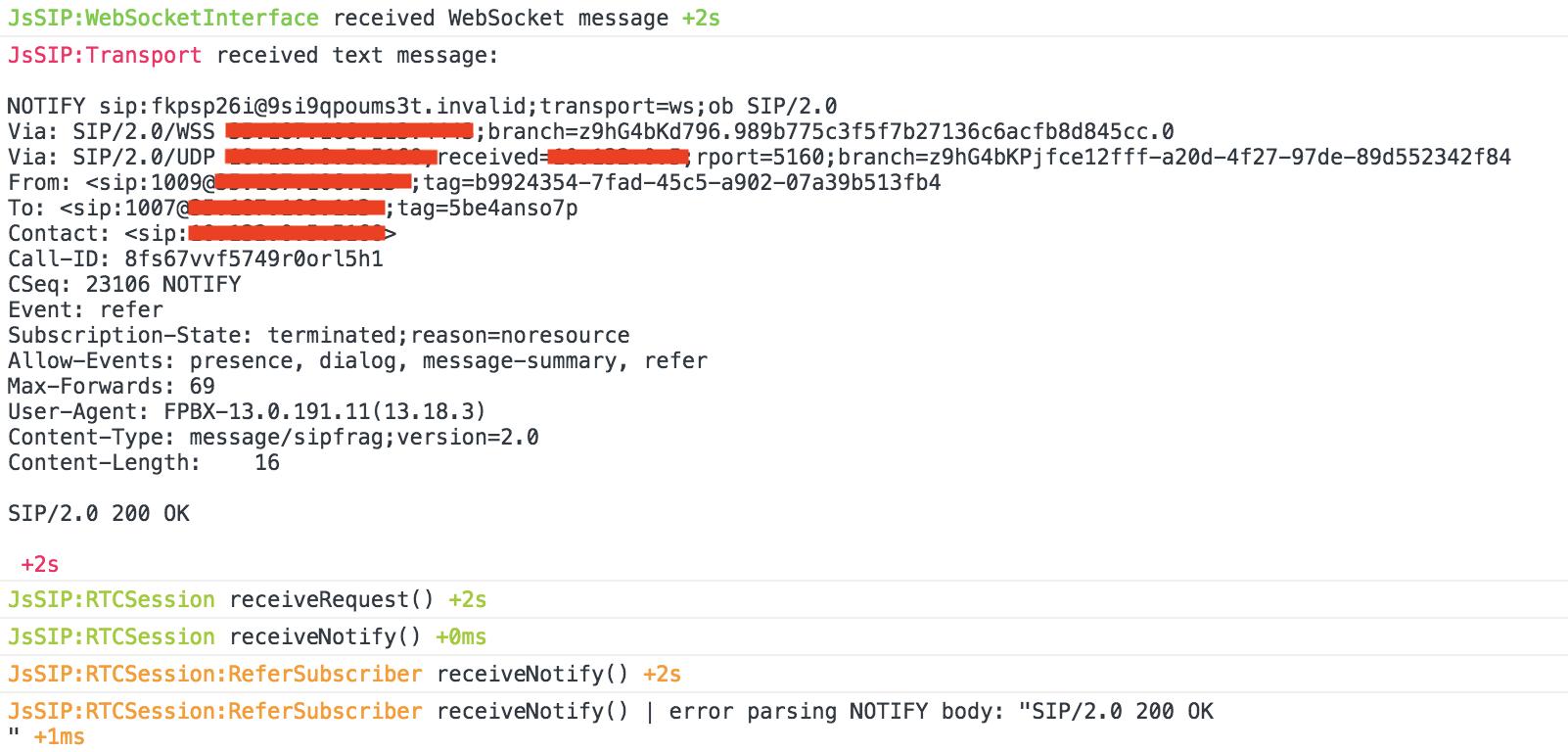 error parsing NOTIFY body · Issue #493 · versatica/JsSIP