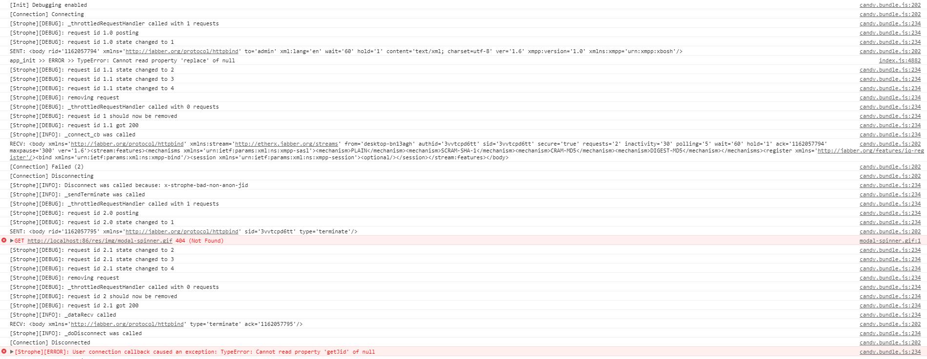 candy - google chrome output with error