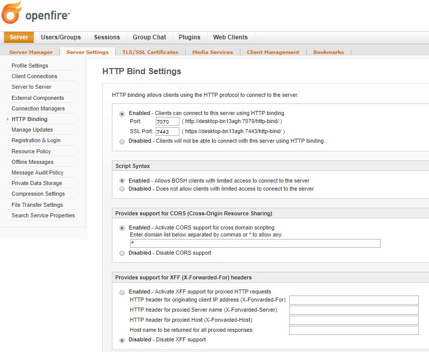 openfire - http bind settings