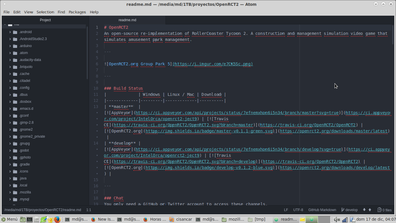 Atom shows the text (in menus and editor) with glitches