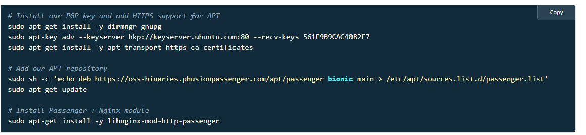 Developers - Passenger Install Nginx and Ubuntu 18 10 -