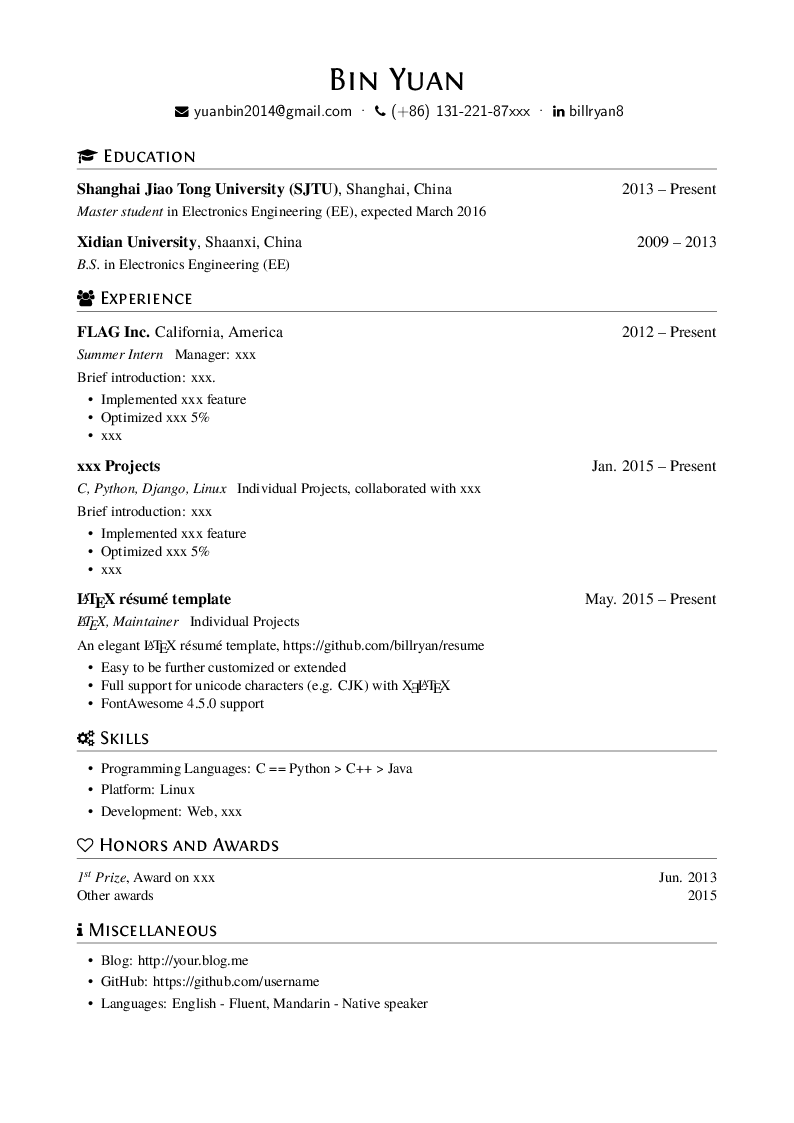 GitHub - billryan/resume: An elegant \\LaTeX\\ résumé template