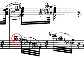 triple flats in Roslavets Piano Sonata No. 1 (1914)