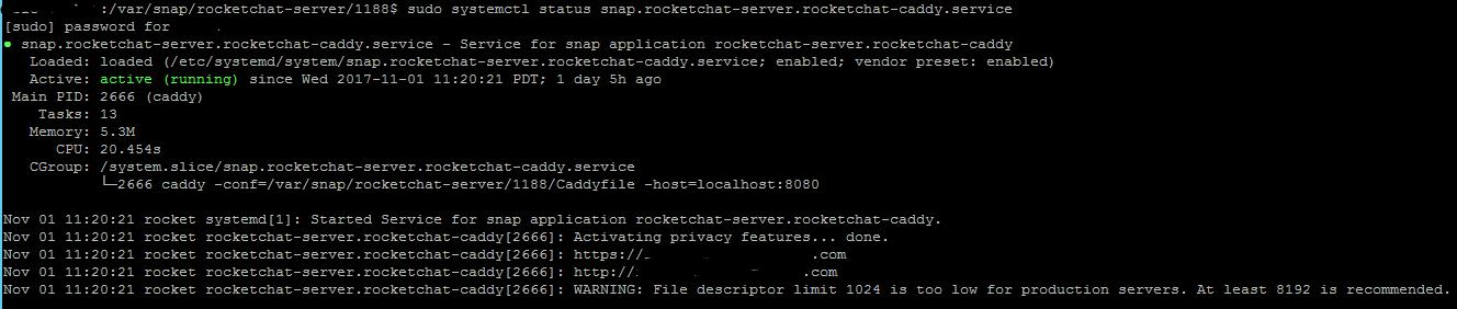 snap rocketchat-server rocketchat-caddy service ACTIVE: failed