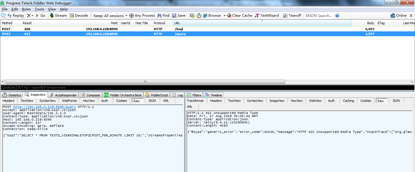 HTTP 415 Unsupported Media Type when requesting restful api\u0027s /query