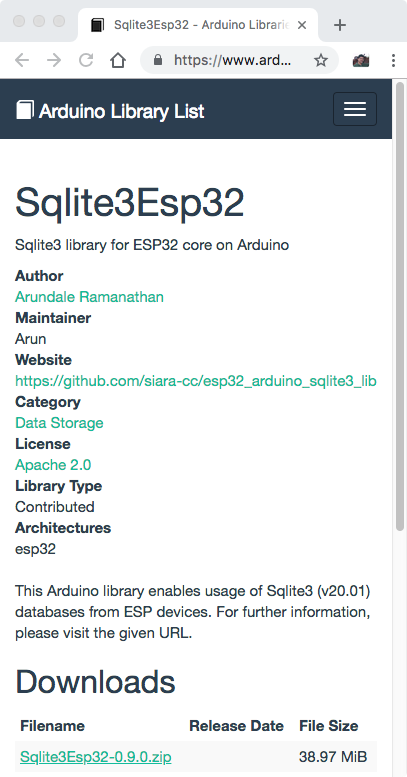 Library manager] Please add sqlite3 · Issue #8541 · arduino