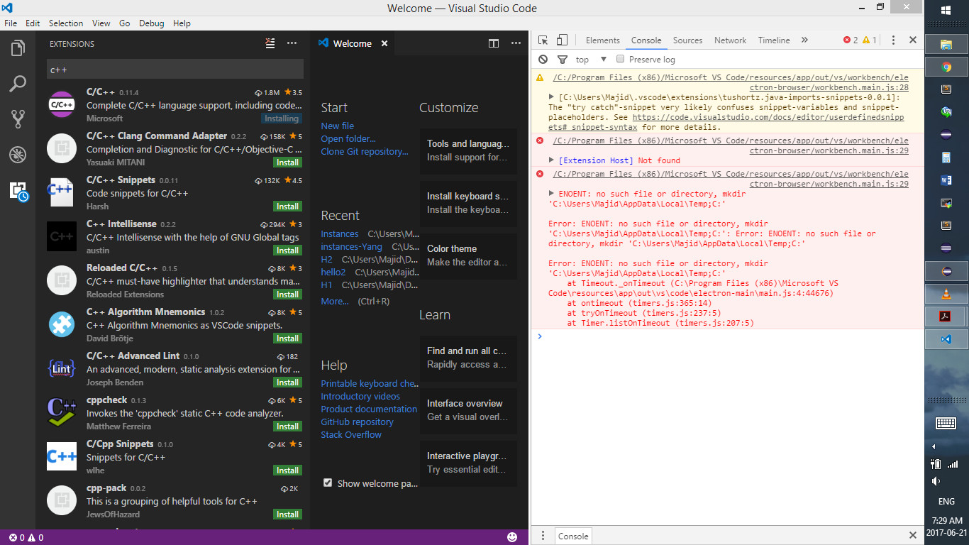 Not able to install extension in visual studio code · Issue #29028