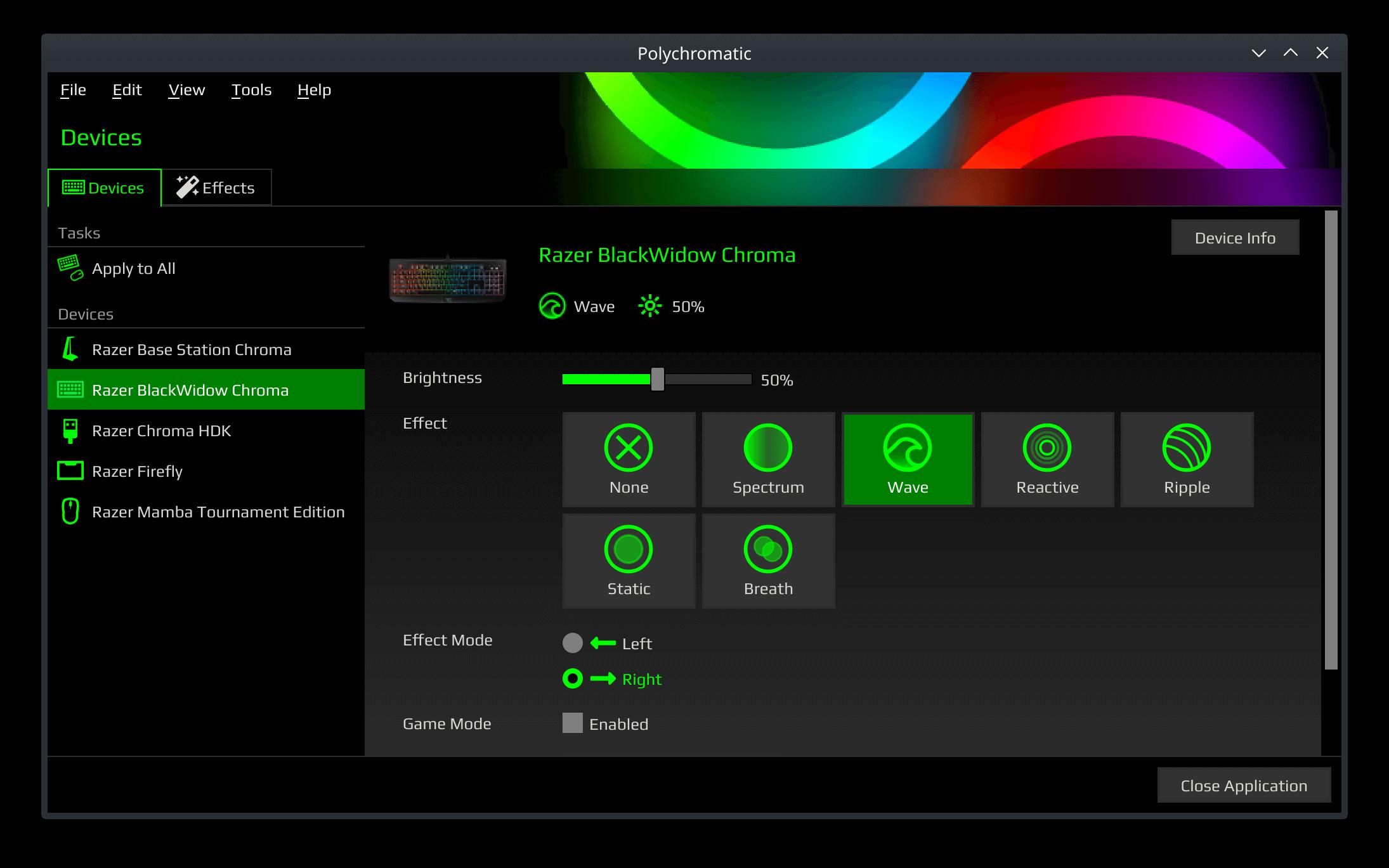 4K screenshot of Polychromatic's controller interface