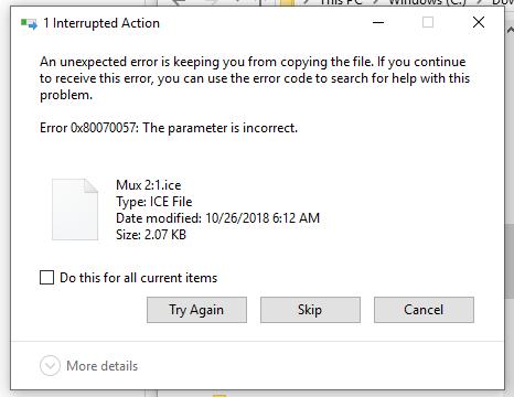 Windows Install zip extract - Error 0x80070057: The