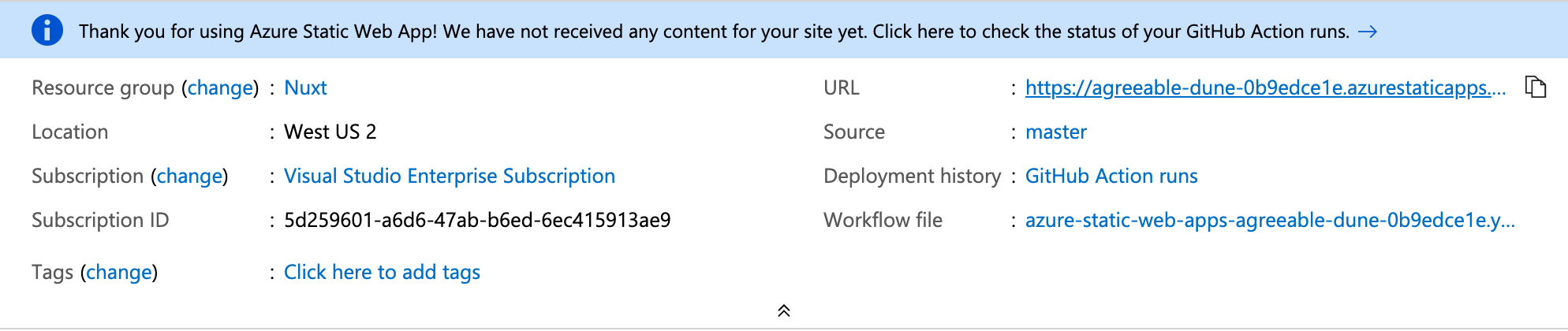 resource screen with url to your deployed app