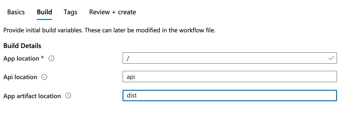Azure portal configure build