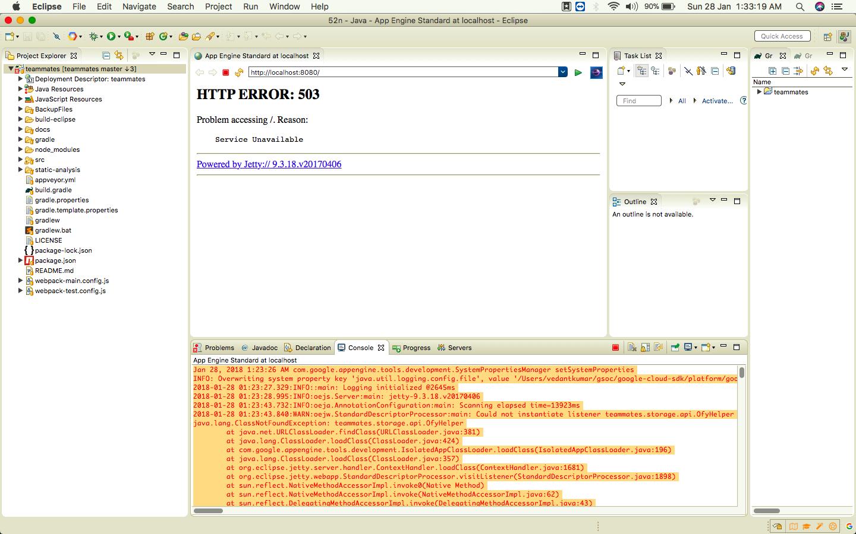 Google App Engine server not starting [HTTP Error 503] in Eclipse