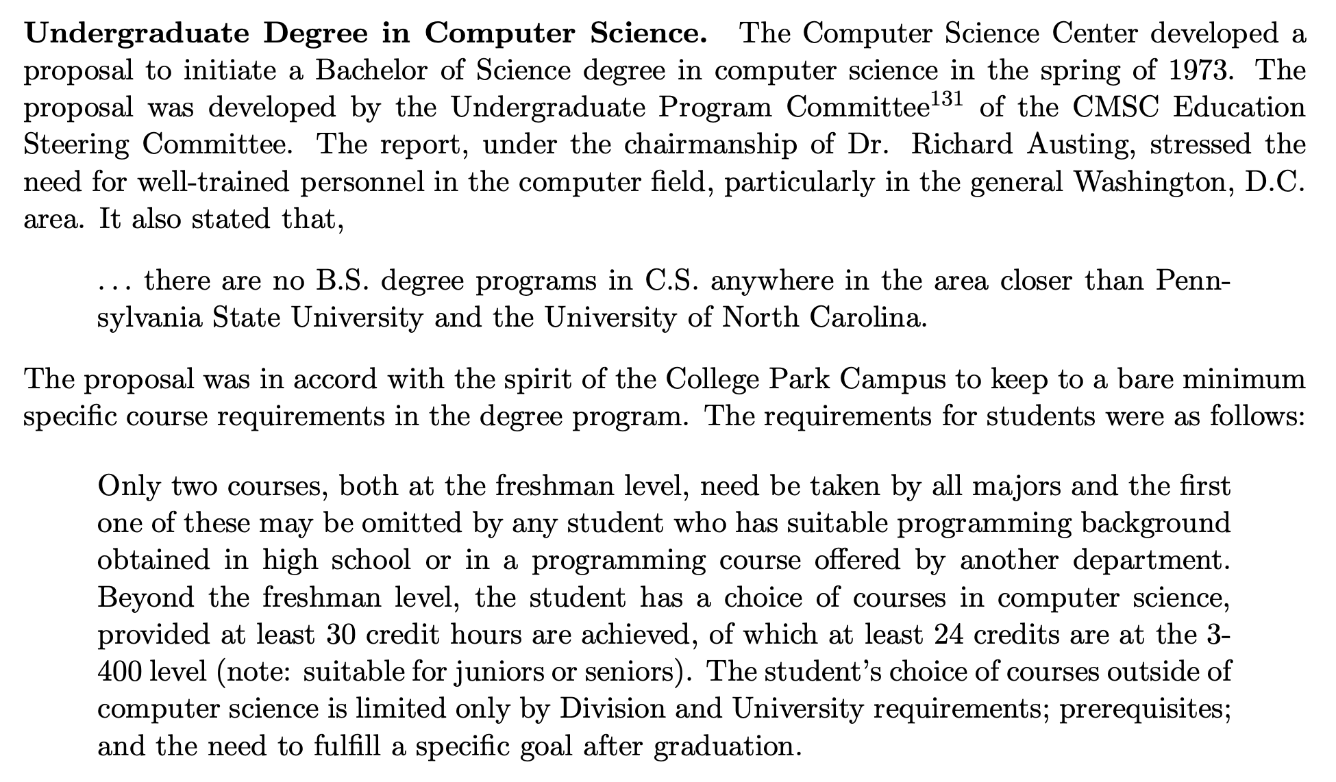 Passage about establishment of CS undergrad program in 1973