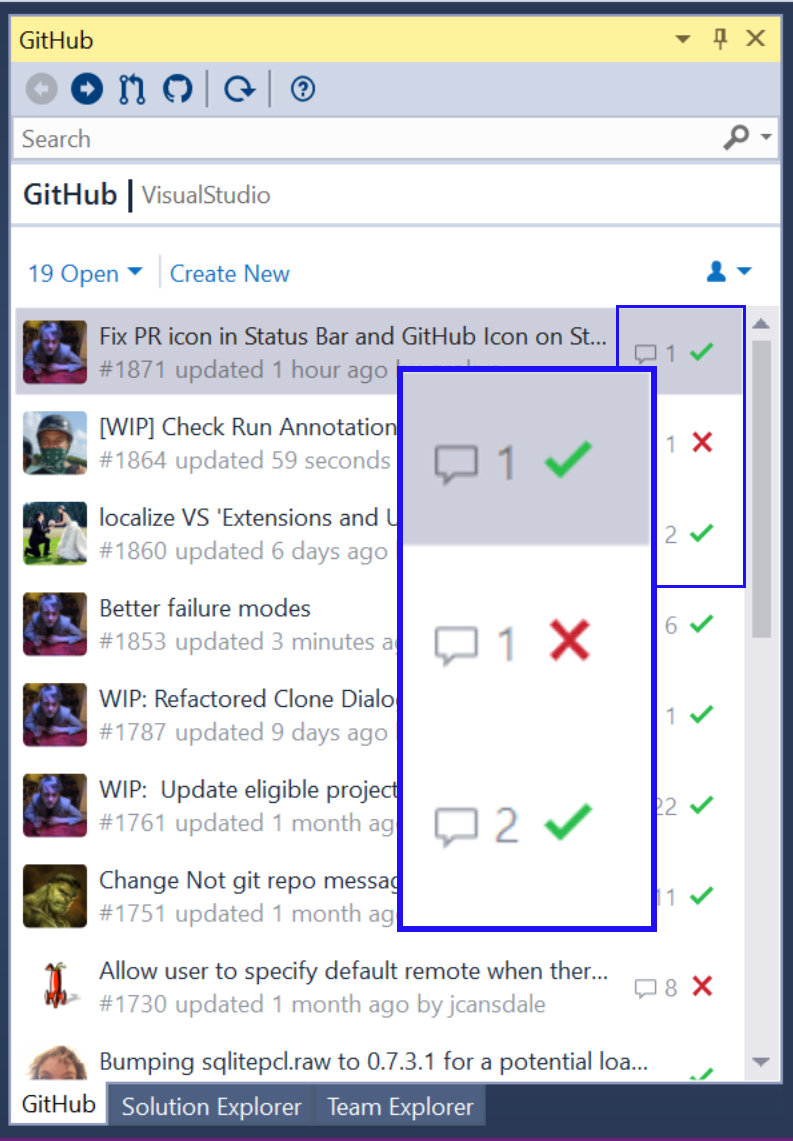 Checks and statuses in GfVS pull requests