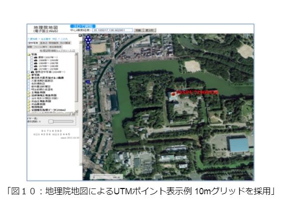 地理院地図によるUTMポイント表示例